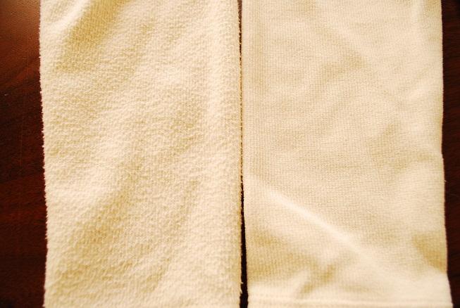 袖部分の服の毛玉の違い