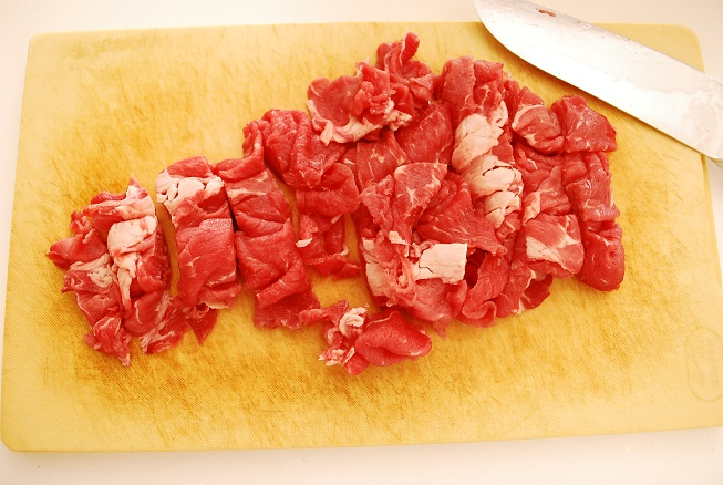 牛肉を切ったところ
